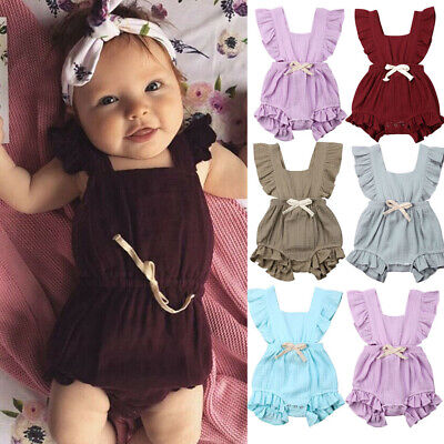Newborn Cute Baby Girl Romper Clothes Outfit Jumpsuit Bodysuit Set Short Sleeve