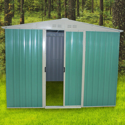 Panana metal garden shed storage tool shed 2 door pent for Garden shed tab