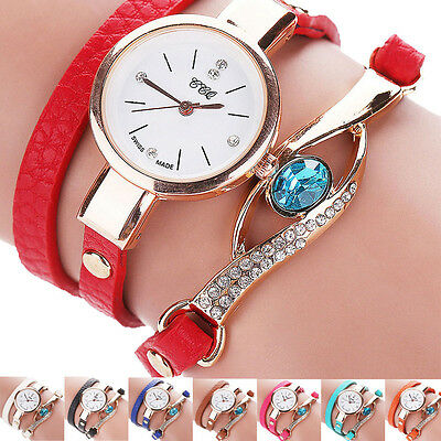 WOMAN DIAMOND BRACELET WATCH AROUND LEATHEROID QUARTZ WRIST T