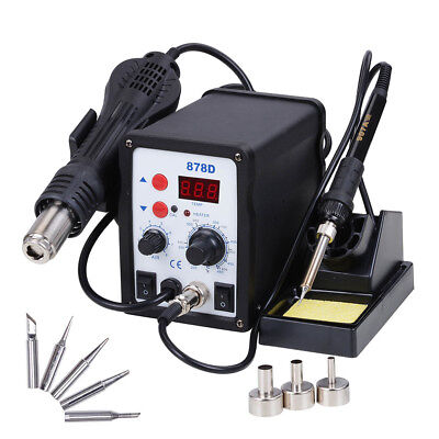 878d 2in1 Soldering Rework Station Esd Iron Welder Gun Hot Air Gun Welder Tool
