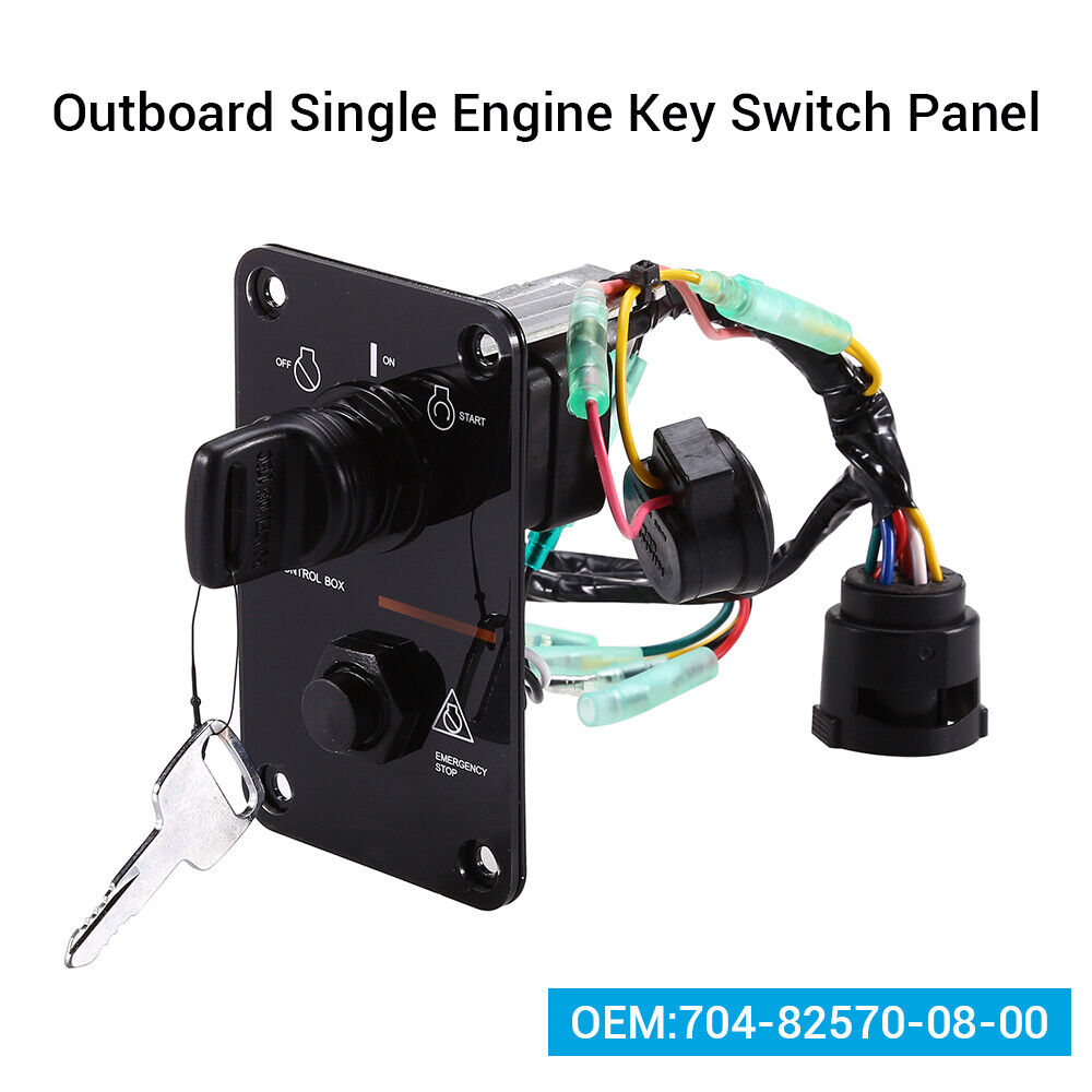 Engine Ignition Key Switch Panel Switch Assembly 12V Ignition Key Switch Panel Single Key Switch Panel Assembly 704-82570-12-00 Fit for Yamaha Outboard Yacht