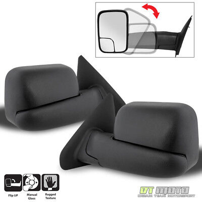 Left+Right 02-08 Dodge RAM 1500/03-09 2500 3500 Tow Extend FlipUp MANUAL Mirrors Manual Extending Tow Mirrors