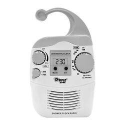 New Pyle PSR6 LCD Digital Hanging Waterproof AM/FM Shower Clock Radio White