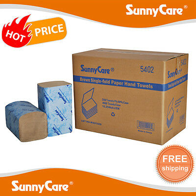 SunnyCare® #5402 Brown Big Single Fold Paper Hand Towels 250/pk ;16pks 4000/Cs