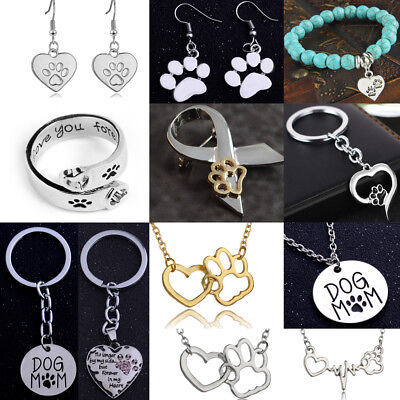 (Paw Earrings Necklace Bracelet Ring Silver Jewellery Sets Dog Pet Lover Gifts)