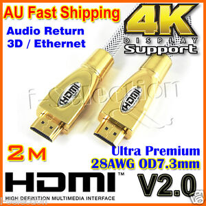 Ultra Premium HDMI Cable Gold Plated V2.0 3D High Speed Audio Ethernet 1m ~ 10m
