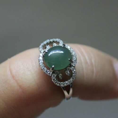 Size 6 ** CERTIFIED Natural JADE (Grade A) Icy Oily Green Jadeite S925 RING
