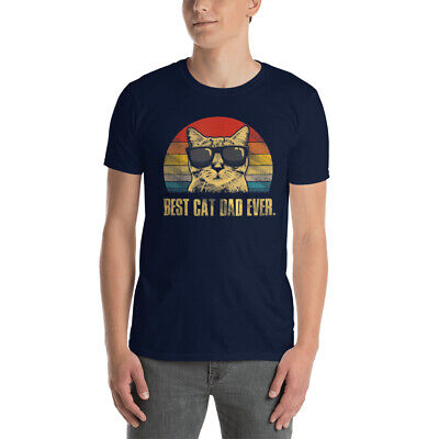 Mens Best Cat Dad Ever T-Shirt Funny Cat Dad Father Vintage Gift
