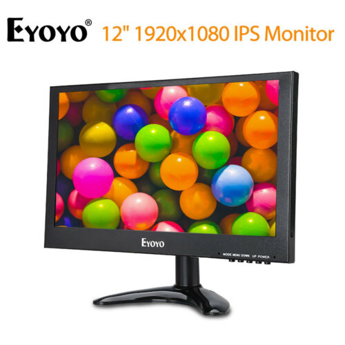 "EYOYO 12"" HD 1920x1080 IPS HD Monitor DVR Video w/ Rich Interfaces For PC CCTV"