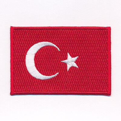 60 x 35 mm Türkei Flagge Türkiye Cumhuriyeti Patch Aufnäher Aufbügler 0633 B