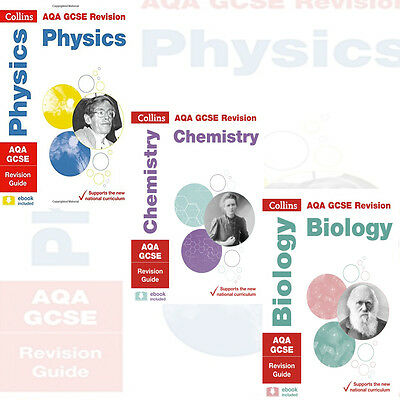 AQA GCSE Physics,Chemistry,Biology Revision Guide Collection 3 Books Set Collins