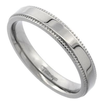 4mm Titanium Flat Milgrain Wedding Band Ring, Highly Polished Comfort Fit