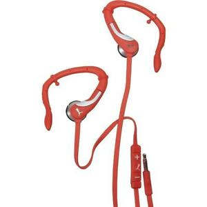 Puma 360 Pro Performance Sport Earbud Headphones with In-Line MFI Mic (Red)