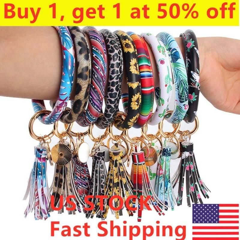 Women Leather Tassel Pendant Bracelet Keychain Wristlet Roun