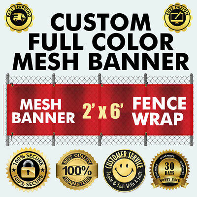 Custom Vinyl Mesh Fence 2 X 6 Feet Banner Sign 260 Gsm Flex Material
