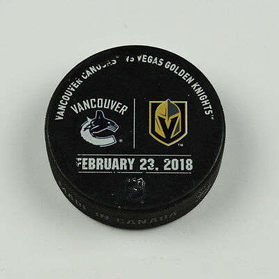 Vegas Golden Knights Warm Up Puck Used 2/23/18 VGK Vs Vancouver Canucks Game