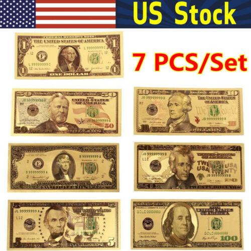 7 PCS Dollar Fake Prop Money USA Banknotes Bills Bank Note 24K Gold Plated Fake