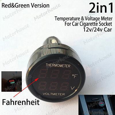 2in1 12v 24v Car Cigarette Lighter Digital Led Voltmeter Thermometer Fahrenheit