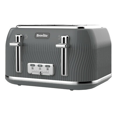 Breville VTT892  DFlow Collection 4 Slice Gray Toaster 220 Volts Export Only