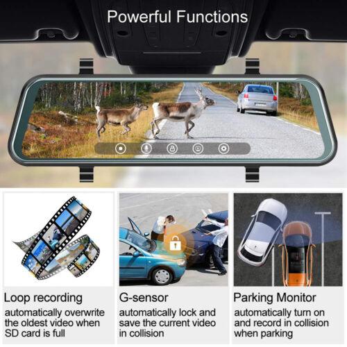 10 HD 1080P Dual Lens Car DVR Dash Cam Video Camera Recorder Rearview Mirror US