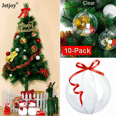 10Pcs Plastic Clear Christmas Balls Diy Hanging Ball Bauble Ornaments Decoration ()
