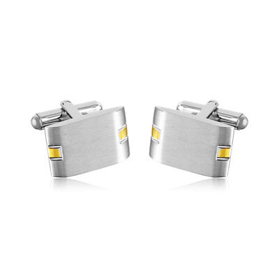Stainless Steel Rectangle Cufflinks with Yellow Gold Plated Design Plated Rectangle Cufflinks