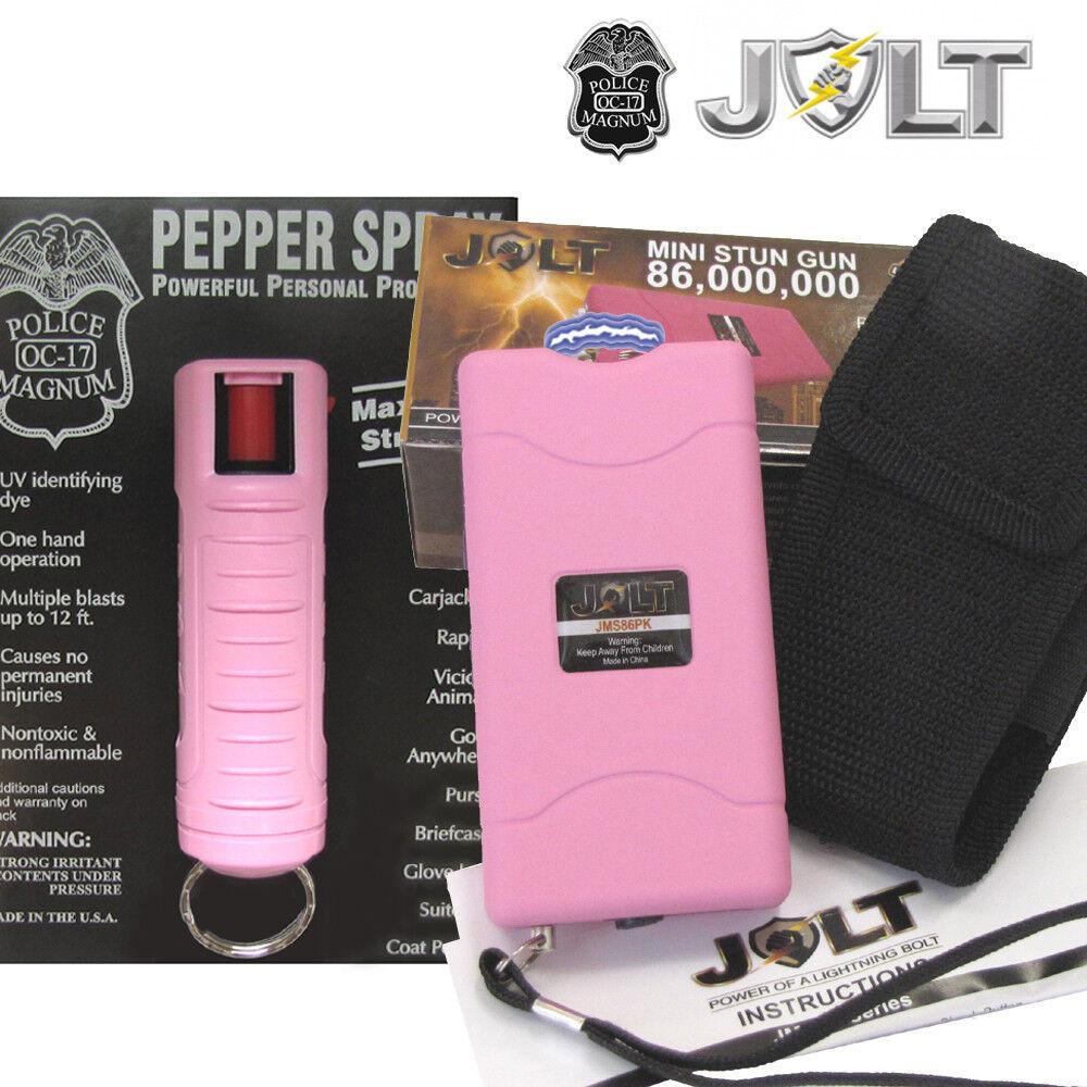Jolt Mini 86,000,000 Stun Gun Police Magnum PEPPER SPRAY Combo Set - PINK - $18.87