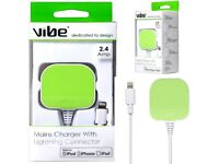 Brand New Sealed [Apple MFI Certified] Vibe Mains Charger Plug with Lightning USB