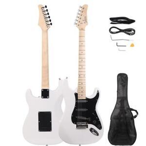 Glarry GST Electric Black Pickguard Guitar with Bag Pick Strap Tool