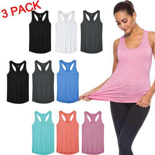 Set of 3 Pack Women's Sport Vest Tank Top T-shirts Fitness G