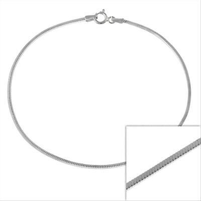 Silver 1.3mm Italian Square Snake Chain Bracelet