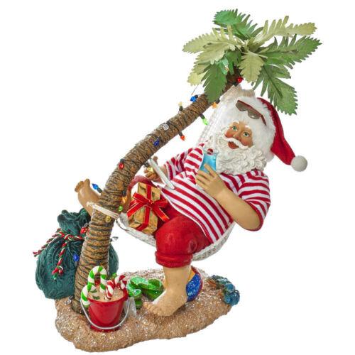 Kurt Adler Fabriché Beach Santa On Hammock Under Tree C7468 Christmas Figurine