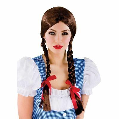 Erwachsene Country Perücke Schulmädchen Dorothy Zopf Geflochten Kostüm Perücke