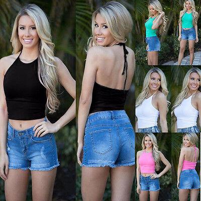 Women Summer Beach Cami Crop Tops Back Hollow Sleeveless Halterneck Tank Vest  1