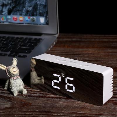 LED Mirror Design Alarm Clock USB & Battery Operated Adjustable Luminance W4W6