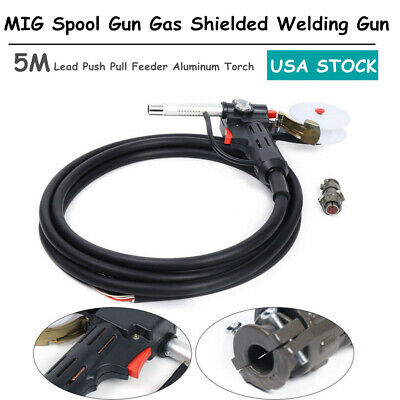 Mig Spool Gun Gas Shielded Welding Gun 5m Lead Push Pull Feeder Aluminum Torch