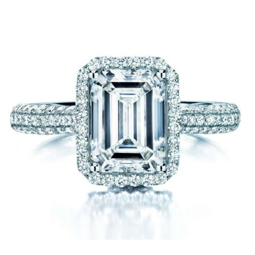 Round & Emerald Cut Diamond Engagement Ring 18k White Gold 1.01 Carat