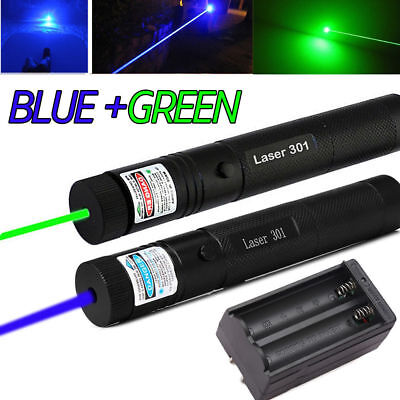 20Miles Range Green&Blue Laser Pointer Pen Visible Beam Zoomable Lazer + Charger
