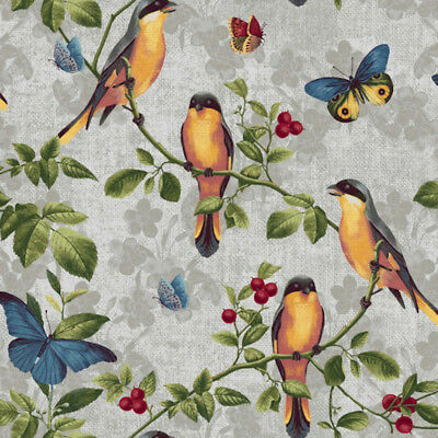 Blank Quilting 8887-090 Walk By Faith Birds Grey Cotton Fabric By Yard