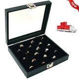 36 SLOT Ring Display Case Organizer Glass Top Jewelry Storage Box Tray Holder