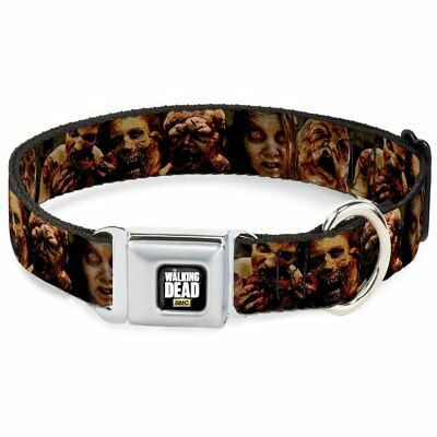 """Buckle-Down 9-15"""" AMC-THE WALKING DEAD Zombie Expressions Dog Collar"""