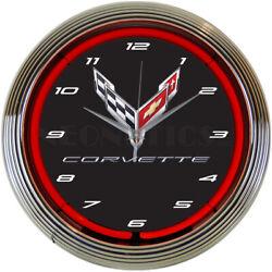Corvette Neon clock sign Racing flags C8 wall lamp light 2021 Chevy Vette 2020