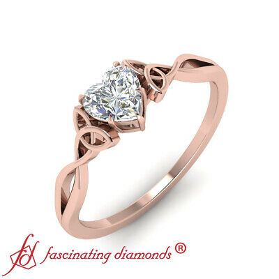 3/4 Carat Heart Shaped Diamond Solitaire Celtic Design Rose Gold Engagement Ring 2