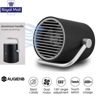 AUGIENB Small Personal Desk USB Fan Touch Mini Laptop & Twin Turbo 2019 Portable