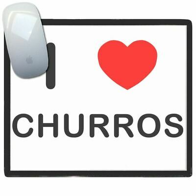 I Love Heart Churros - Thin Pictoral Plastic Mouse Pad Mat Badgebeast