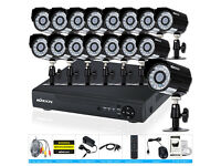 ahd cctv camera full system 1080p dvr 16 channel +16 2mp camera +4TB harddrive supplied and fitted