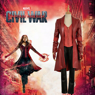 Captain Scarlet Kostüm (The Avengers Captain America Scarlet Witch Nanosuit Red Cosplay Costume)