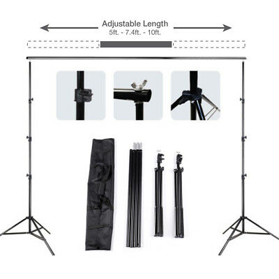 10Ft Pro Photography Photo Backdrop Support Stand Set Background Crossbar Kit
