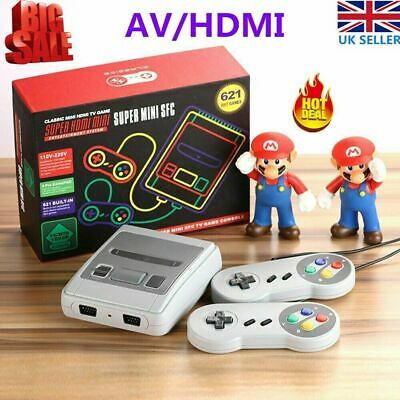 NE HDMI Retro Game Console TV Built-in 621 Games for Super Nintendo+2 Controller
