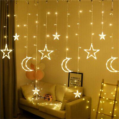 LED Moon Star Curtain Lights Romantic Warm White For Xmas Wedding Party Decor ()